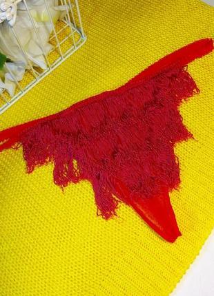 Супер откровенные красные трусики стринги с бахромой