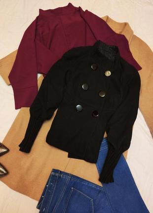 Пальто полупальто чёрное рукава фонарики драповое на пуговицах