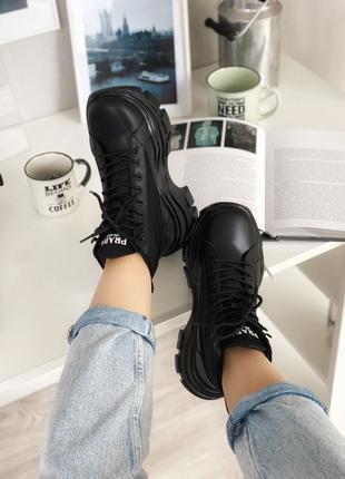 Prada Milano Sneakers Block White Black женские ботинки демосезон