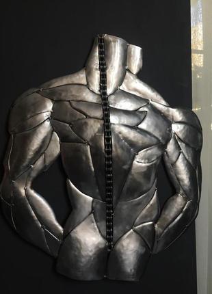 Мужчина, вид сзади, панно, картина, стимпанк, мускулы, тренажер,