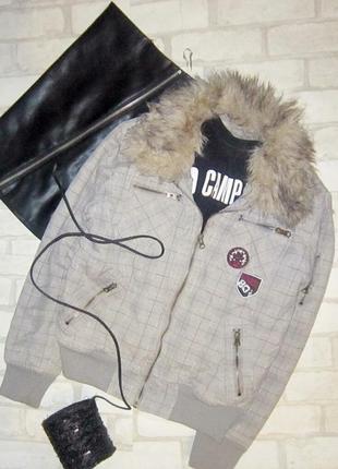 Шикарная утепленная куртка-бомбер, принт английская клетка, с ...