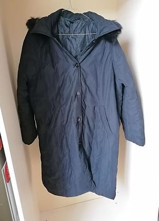Длинный зимний пуховик\ куртка с капюшоном и натуральным мехом...