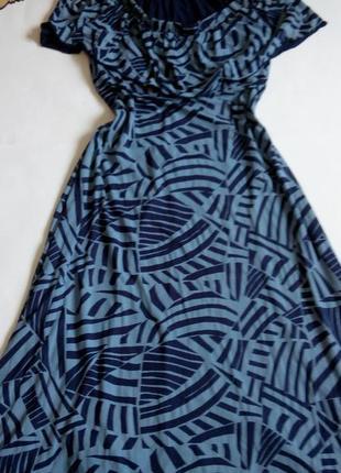 Платье  52 54 размер длинное нарядное бюстье  в пол синее вече...