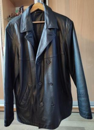 Мужская кожаная куртка, большой размер 56