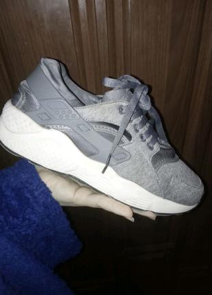 Женские кроссовки Nike huarache gray найк хуарачи серые 36 размер
