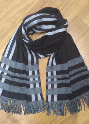 Мужской черно-серый шарф