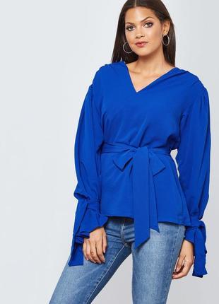 Шикарная синяя блузка с длинным рукавом с бантами и поясом los...
