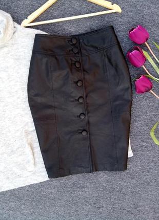 Крутая юбка миди с пуговицами спереди 100% кожа раз.xl-xxl
