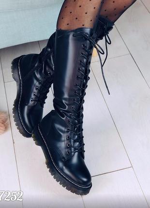 Стильные высокие ботинки деми на шнуровке