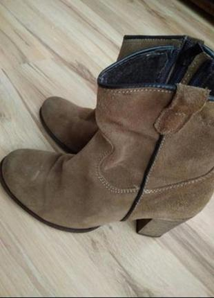 Кожаные ботинки, ковбойский стиль ,замш