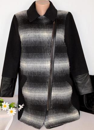 Пальто косуха на молнии с кожаными вставками m&s collection ше...