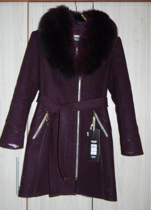 Пальто зимнее натуральный мех s