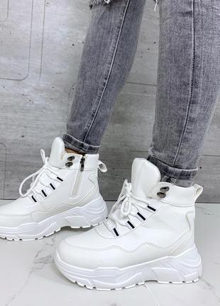 Зимние ботинки белого цвета,белые зимние ботинки на платформе