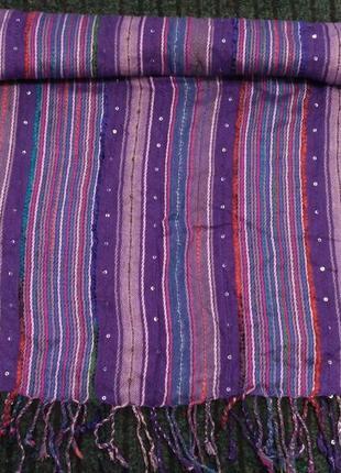 Фиолетовый палантин, расшитый пайетками