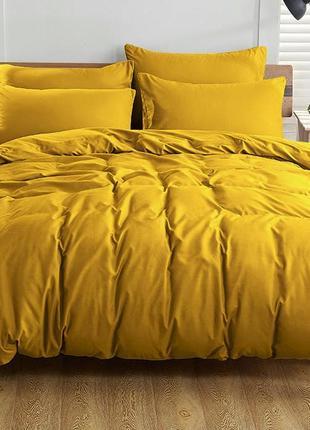 Постельное белье однотонное горчичного цвета, поплин (натураль...