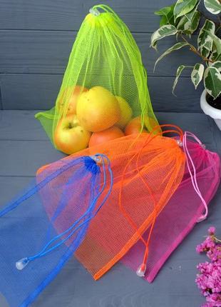 Набор эко мешочков из сетки, эко торбочки, мешки для продуктов...