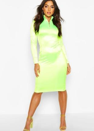Крутое неоновое платье миди от boohoo
