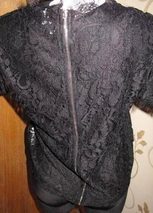 Чорна  ажурна блуза piazza italia м  нова бірки ззаду замочок