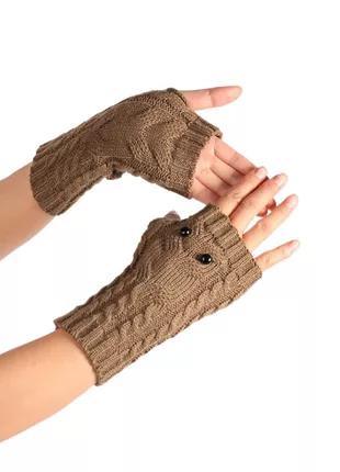 Митенки совы совушки бежевые новые перчатки без пальцев