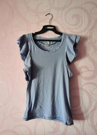 Голубой топ-футболка