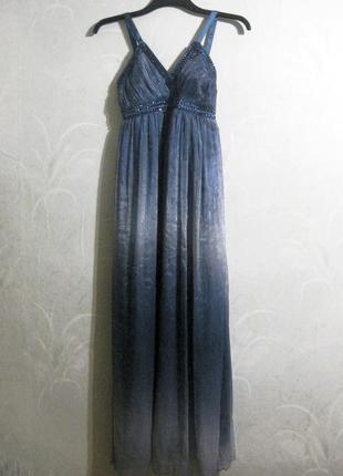 Платье azaka paris длинное макси в пол градиент синее камни ст...