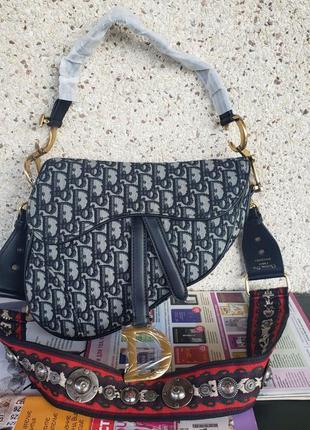 Женская текстильная сумка седло жіноча Dior Saddle Диор Сэдл