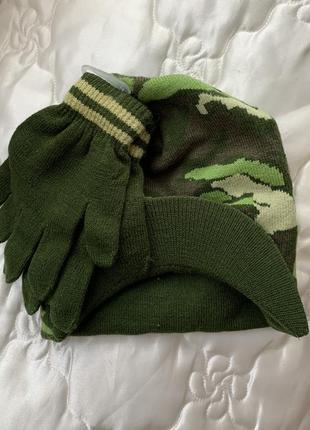 Новый набор комплект шапка и варежки george в милитари стиле