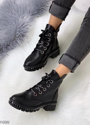 Зимние кожаные ботинки на низком каблуке, демисезонные ботинки...