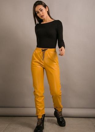Теплые женские штаны из кожзама, кожаные брюки