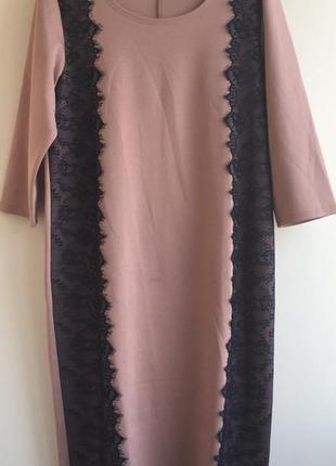 Платье с ажурными вставками цвет пудра (бежево-розовое)