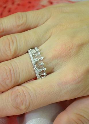 Кольцо корона из серебра