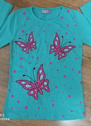 Красивая кофта для девочки,реглан,футболка с длинным рукавом