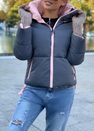 Женская стильная зимняя куртка+перчатки митенки в подарок,см.ф...