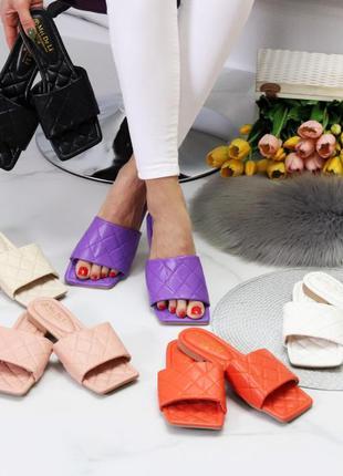 Шлепки шлёпанцы из эко-кожи  на маленьком каблуке обувь