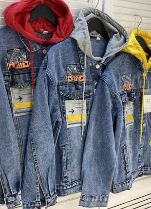 Женская джинсовая  куртка з капюшоном