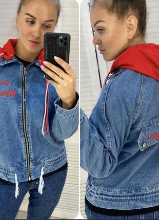 Джинсова куртка з капюшоном женская