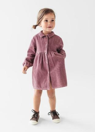 Офигенное вельветовое платье-рубашка на кнопках zara 1.5-2года