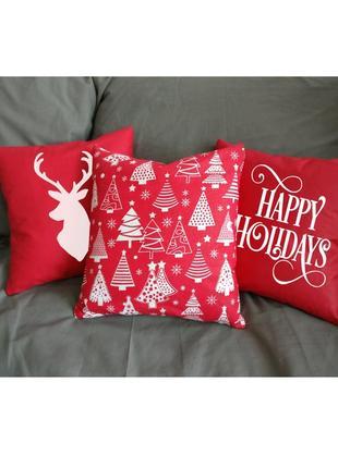 Новогодний декор подушки, набор подушек