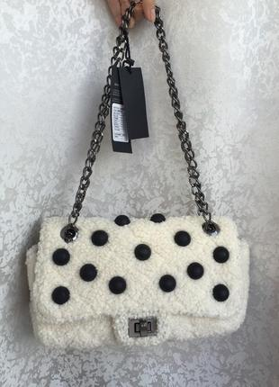 Стильная новая сумка на цепочке, в стиле chanel, меховая, плюш...