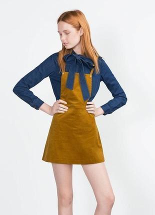 Стильный вельветовый сарафан комбинезон с юбкой