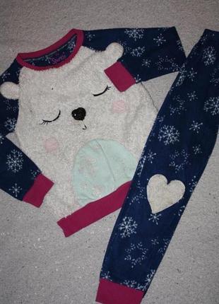 Флисовая пижама ф.tu для девочки р-128/134 (8-9лет) хорошее со...