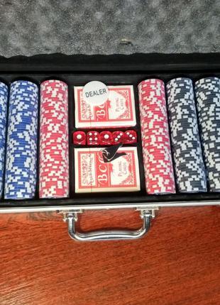 Набор для игры в покер на 500 фишек с номиналом в кейсе | новы...