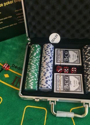Набор для игры в покер 200 фишек в алюминиевом кейсе | покерны...