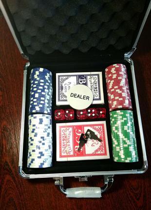 Набор для игры в покер на 100 фишек с номиналом | покерный наб...