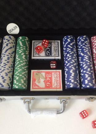 Набор для игры в покер 300 фишек в кейсе покерный набор | набо...