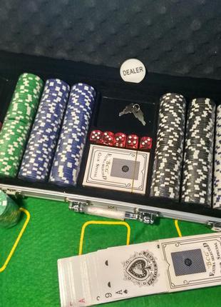 Набор для игры в покер 500 фишек в алюминиевом кейсе | Покерны...