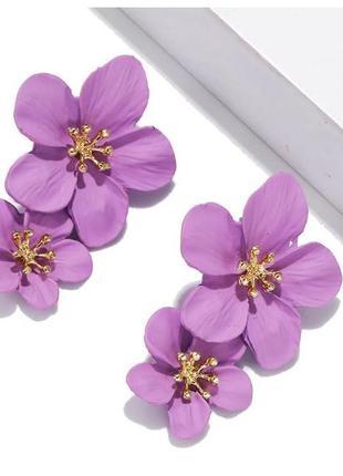 Длинные серьги цветы нежного лавандового цвета