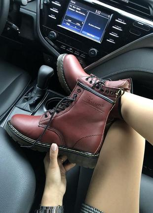 Dr. martens 1460 fur bordo 🤗 женские зимние ботинки мартинс с ...