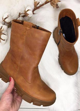 Натуральная кожа. зимние кожаные сапоги на надежной подошве в ...
