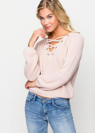 Мягенький свитер со шнуровкой пудрового цвета от tally weijl
